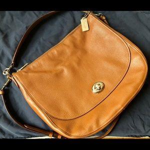 Tan large coach purse